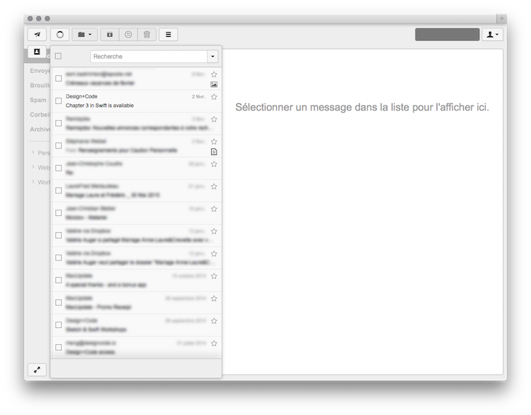 Capture de la liste des messages de RainLoop